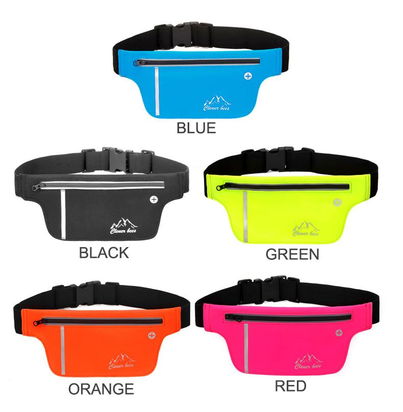 Lycra Sports Bag Spedex Yoga Waist Packs Thin Bum Bag Elastic Running Pack Headphone port for Cell phone Waist Bag