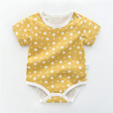 Летний Новый Стиль, платье с короткими рукавами для девочек детский комбинезон, хлопковый боди для новорожденных, костюм Детская Пижама ком...(Китай)