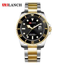 Мужские часы, 2020, кварцевые, водонепроницаемые, с датой, мужские, Rolexable, модные, синие часы, мужские, Топ бренд, роскошные, золотые, мужские, спо...(Китай)