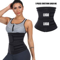 Custom Logo Compression Double Strap Neoprene Waist Trainer For Ladies Workout Jogging Lose Weight Belly