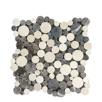 Mixed color grey and beige Penny Round shaped Bathroom Wall Mosaic