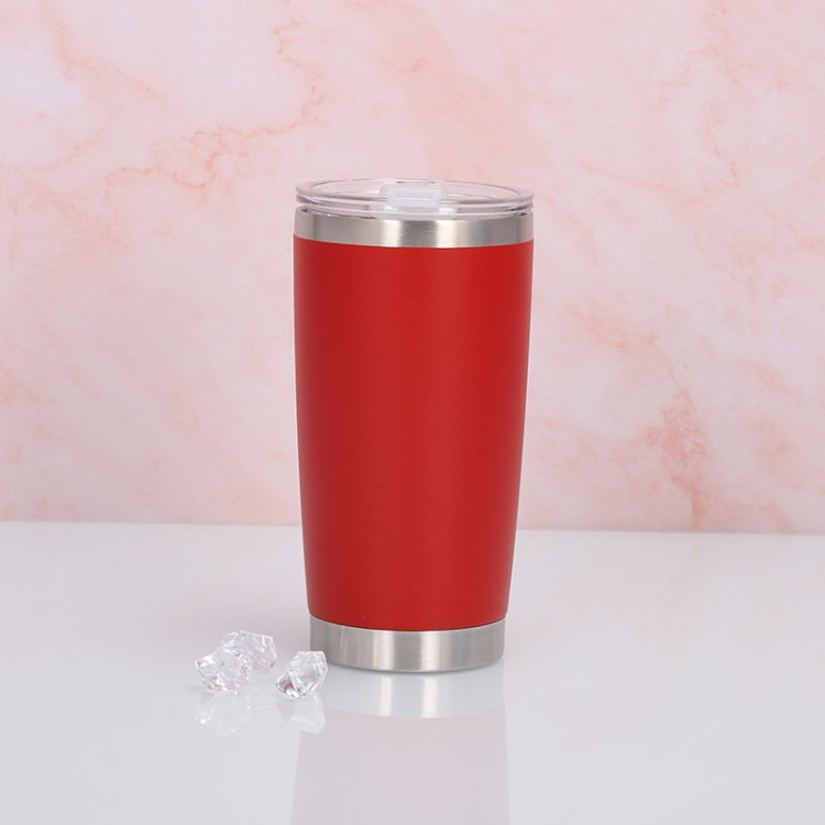 Kustom 20 Oz Double Wall Insulated Stainless Steel Vacuum Tumbler Cangkir dengan Tutup Sliding