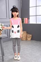 Детский жилет с рисунком, полосатые леггинсы, комплект из 2 предметов для девочек, хлопковая детская одежда для девочек, лето 2020(Китай)