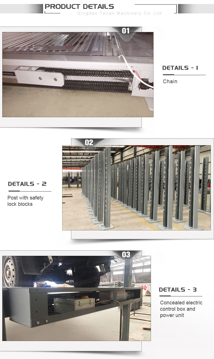 Good quality and low price  hydraulic chain 4 post car parking lift