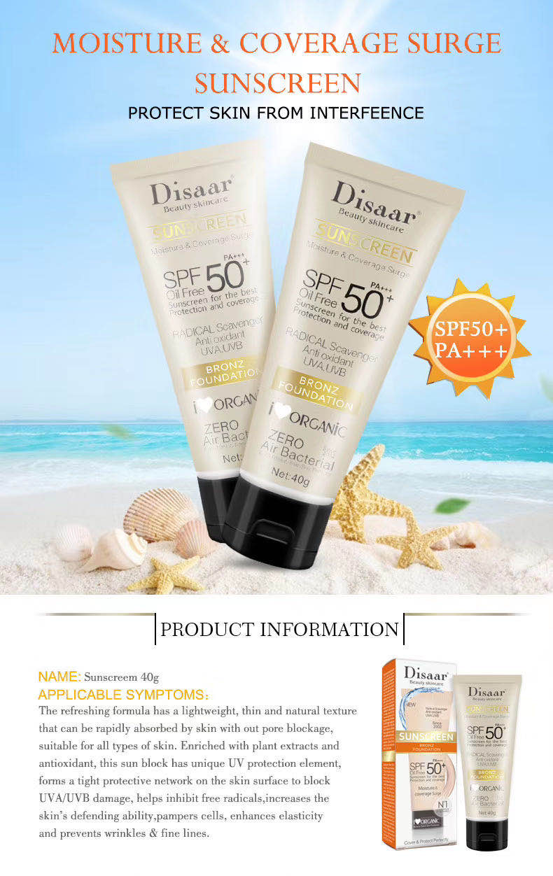 OEM Disaar SPF 50 sun protection anti aging moisturizer organic sunscreen cream for all skin