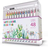Brush Pens 48 Colors, Watercolor Painting with Nylon Brush Tips, for Calligraphy and Art Drawings for Art