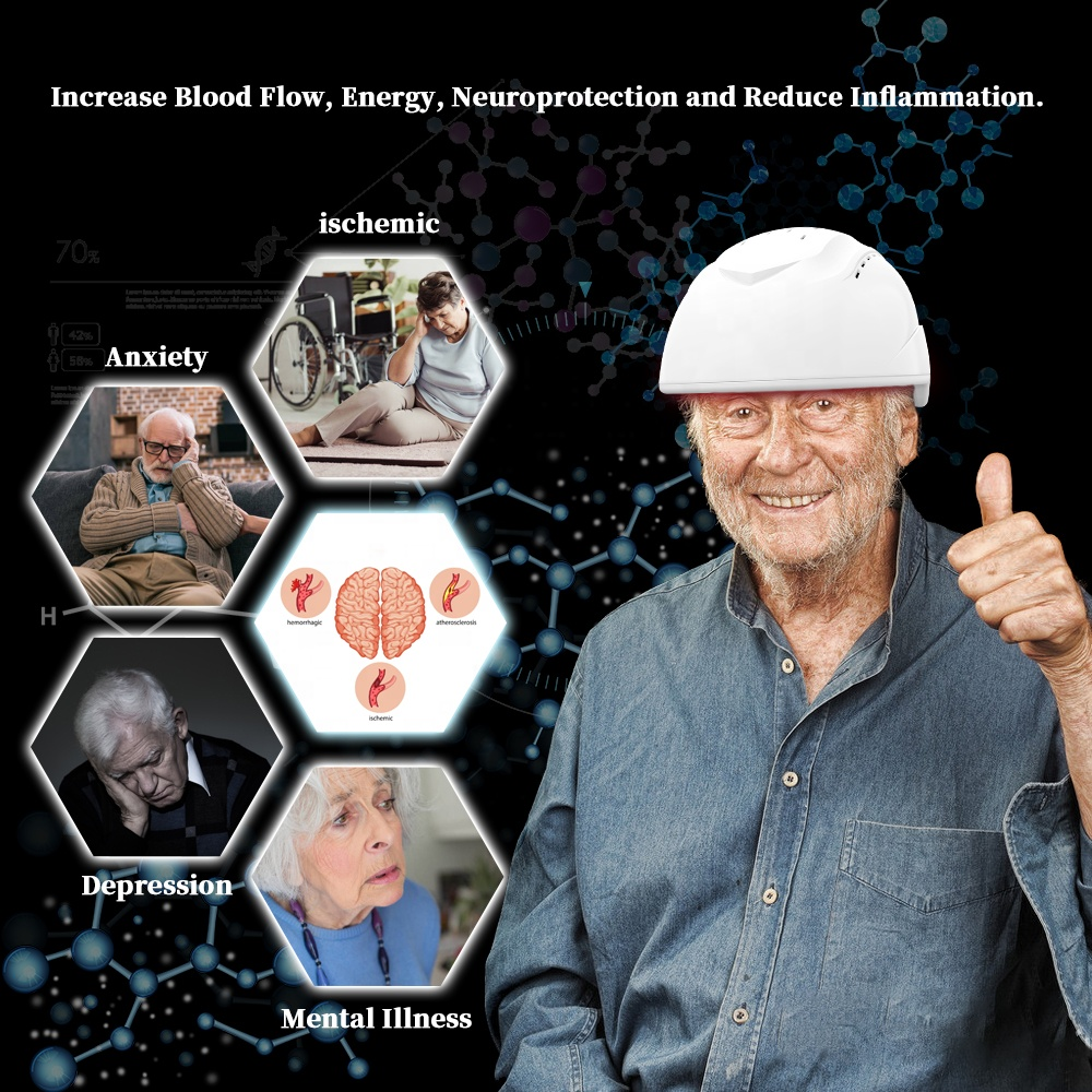 GY-PDT1 Brain Stimulation Infrared Therapy Helmet Hair Grow Laser FAD Cleared