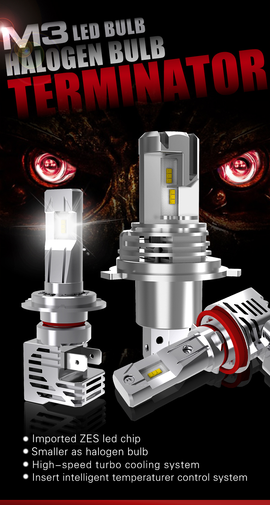 All in one design wireless M3 h7 led auto lighting 10000LM 110W plug and play light ZES motorcycle light