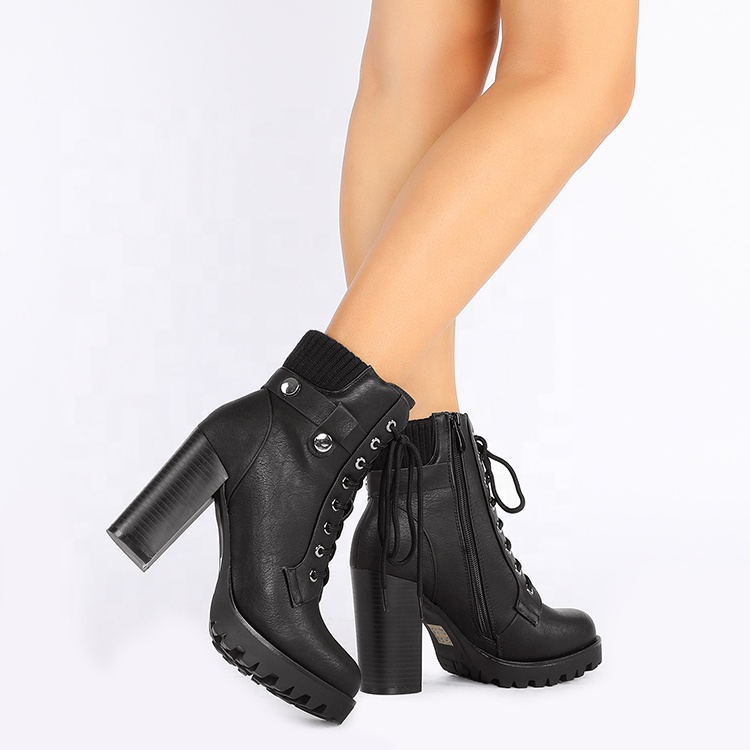 Wholesale Custom Ladies Ankle Martin Boots Women Shoes Chunky Block High Heel Women Boots