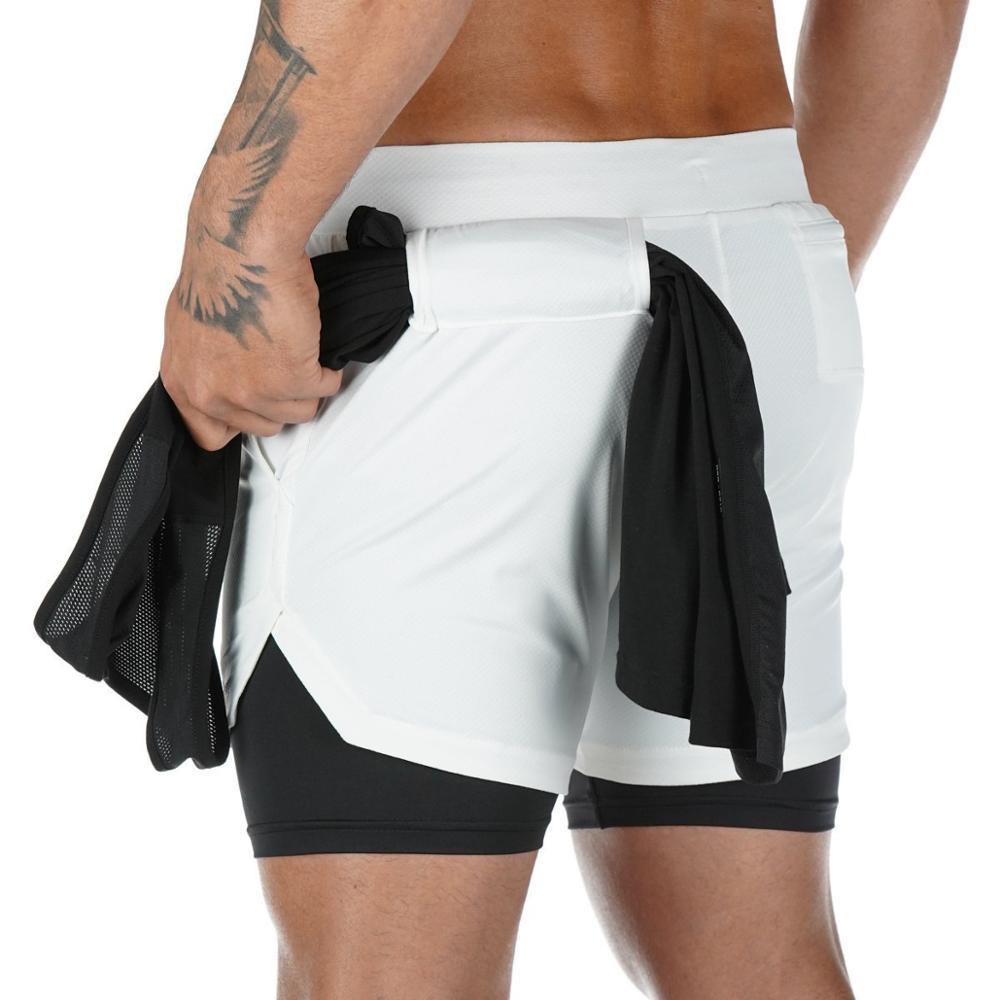 Men 2 in 1 Double - Deck custom gym athletic shorts