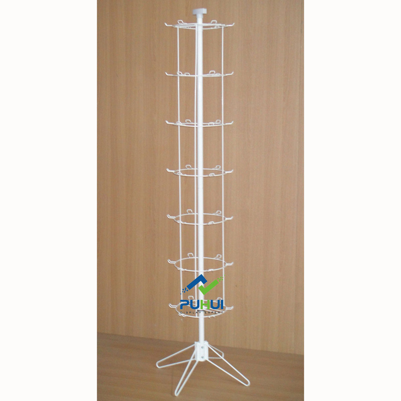 floor standing promotion metal retail spinning display rack with peg hooks for hanging ornaments novelties