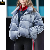 China wholesale 2019 shiny velvet bubble women coats thick warm windbreaker down bomber padded winter puffer jacket womens