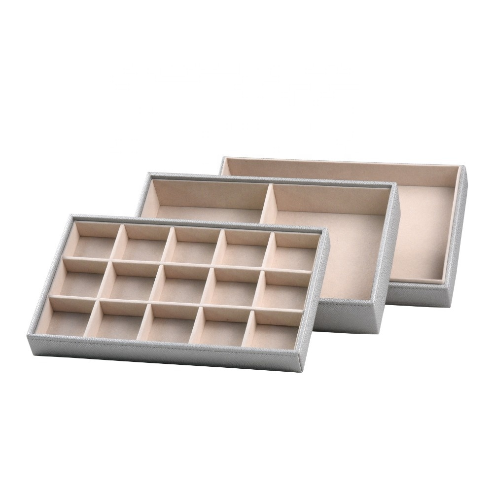 Custom luxury wood PU leather stackable jewelry display tray desktop organizer