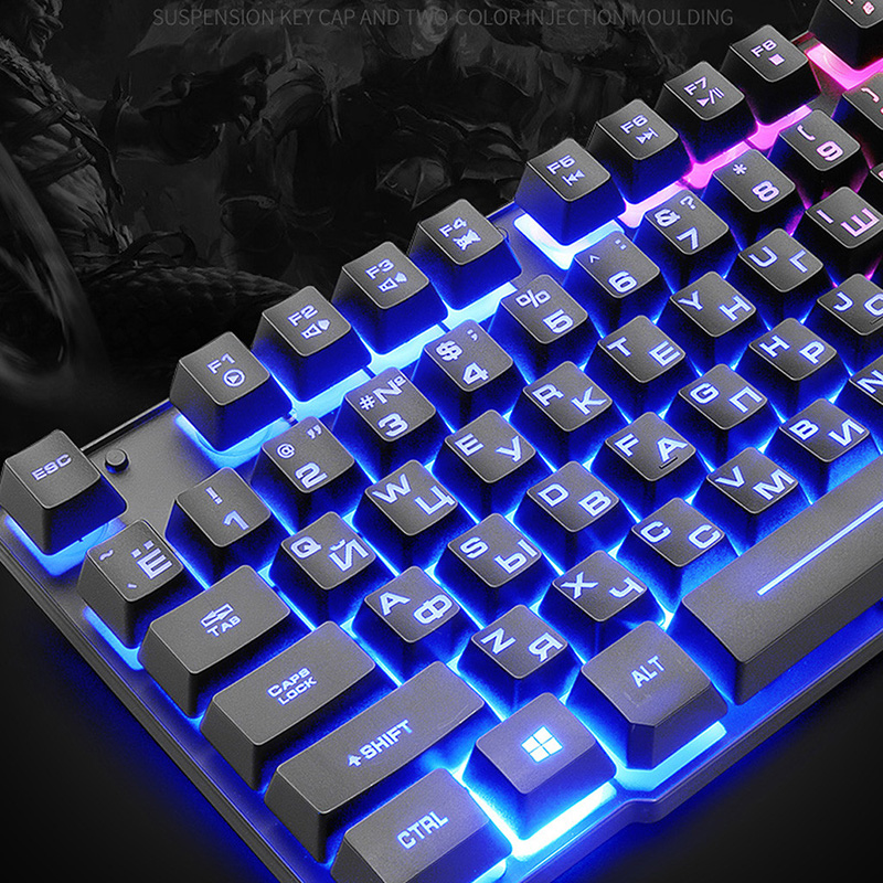 Rainbow Backlight Keyboard USB + Mouse Set Ergonomis Set Keyboard dan Mouse Gaming untuk PC Laptop Gamer