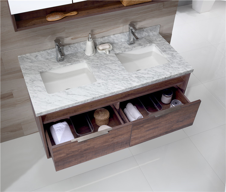 Factory New Style Design Bathroom Large Storage Floor Standing 2 Sink Bathroom Cabinet