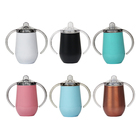 8oz/14oz BPA Free Sippy Tumbler Double Wall 304 Stainless Steel Kids Baby Feeding Water Bottle with Handle