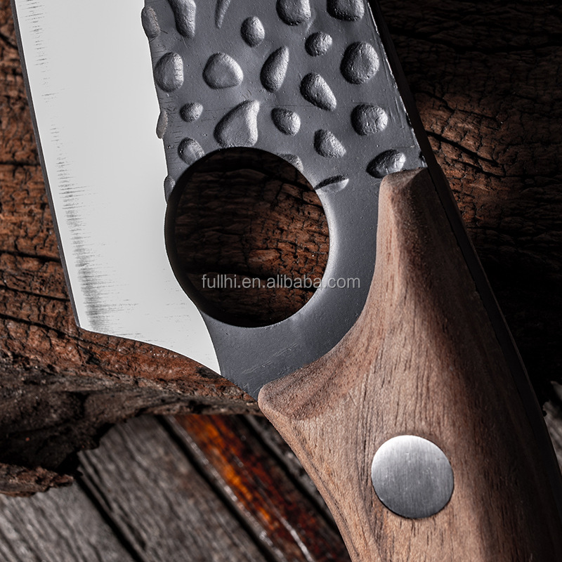 Factory Curved Black Hammered Sharp Kitchen Knife Outdoor Serbian Survival Fillet Full Tang Wood Hand Boning Knife with Sheath