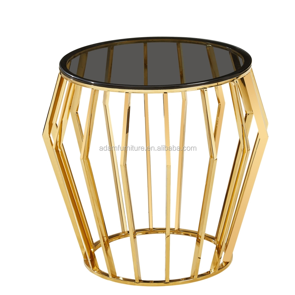 2020  Ebay  Hot Selling Smoked Grey Tempered Glass Coffee Table with Golden Stainless Steel Base