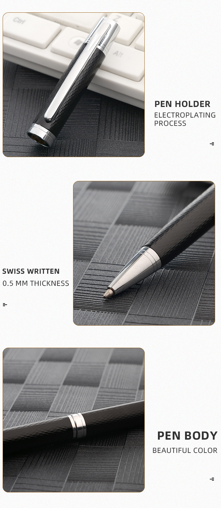 Fashion Designer Business Gift Metal Pen 2020 Black with Silver Twist Ballpoint Pen Promotional Custom Logo Welcome