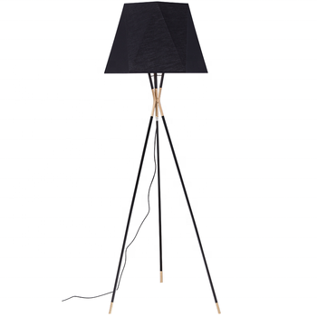 Hotel project fancy modern luxury triangl style modern tripod floor lamp with black cloth lamp shade for bedside/office