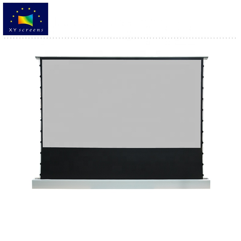 XY remote control 120 inch Floor Rising Electric Ambient Light Rejecting Projection Screen for Ultra Short Throw 4K 3D Projector