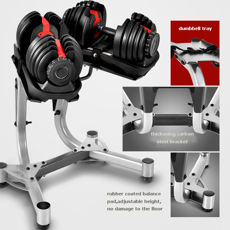 Wholesale gym power weight lifting training quickly automatic adjustable dumbbell set rack adjustable dumbbell with stand