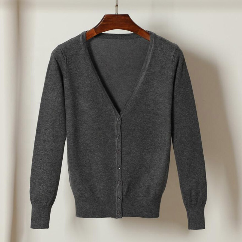spring autumn knitted <strong>cardigan</strong> women casual tops V neck women sweater coat