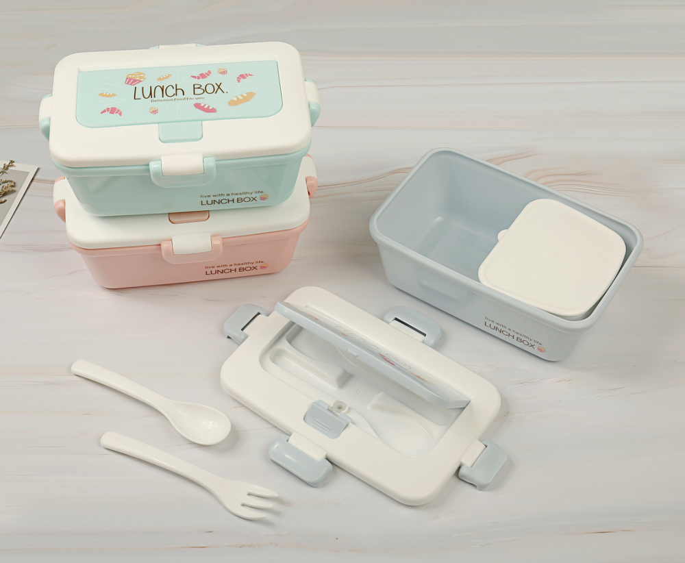 Plastic Fresh Preservation and Thermal Insulation Pot Box Three-piece Set of lunch box with Single-layer Heating and Fresh Prese фото