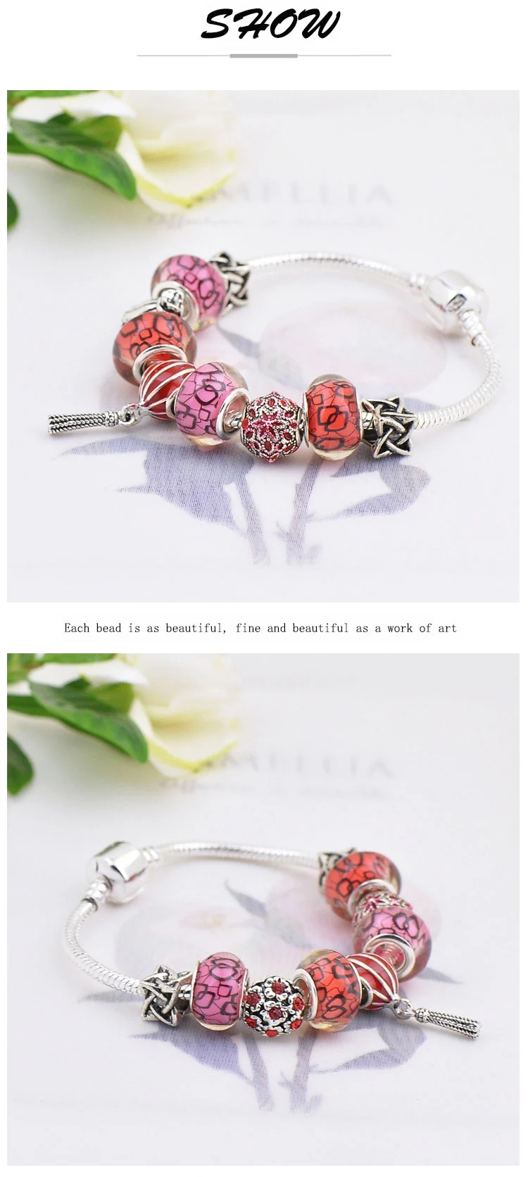 Fashion Red Stones Colourful Christmas Father Alloy Silver Glass Beads Bracelet Jewelry For Women Men Children