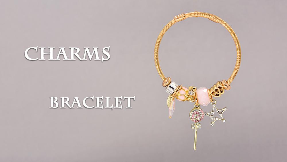 Modalen Nouveau Designer Rose Cristal Bracelet En Acier Inoxydable Bracelet à Breloques