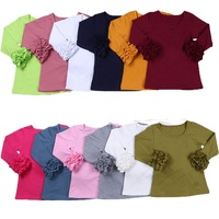 RTS cotton kids baby girls children clothing icing t-shirt boutique tee long sleeve plain blank toddler girls ruffle shirt