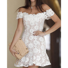 Wholesale women sexy white off shoulder lace dress weddings bridesmaid short dresses