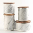 550ml Airtight Marble Decorative Ceramic Porcelain Canister Jar With Wooden Lid Sets Manufacturer