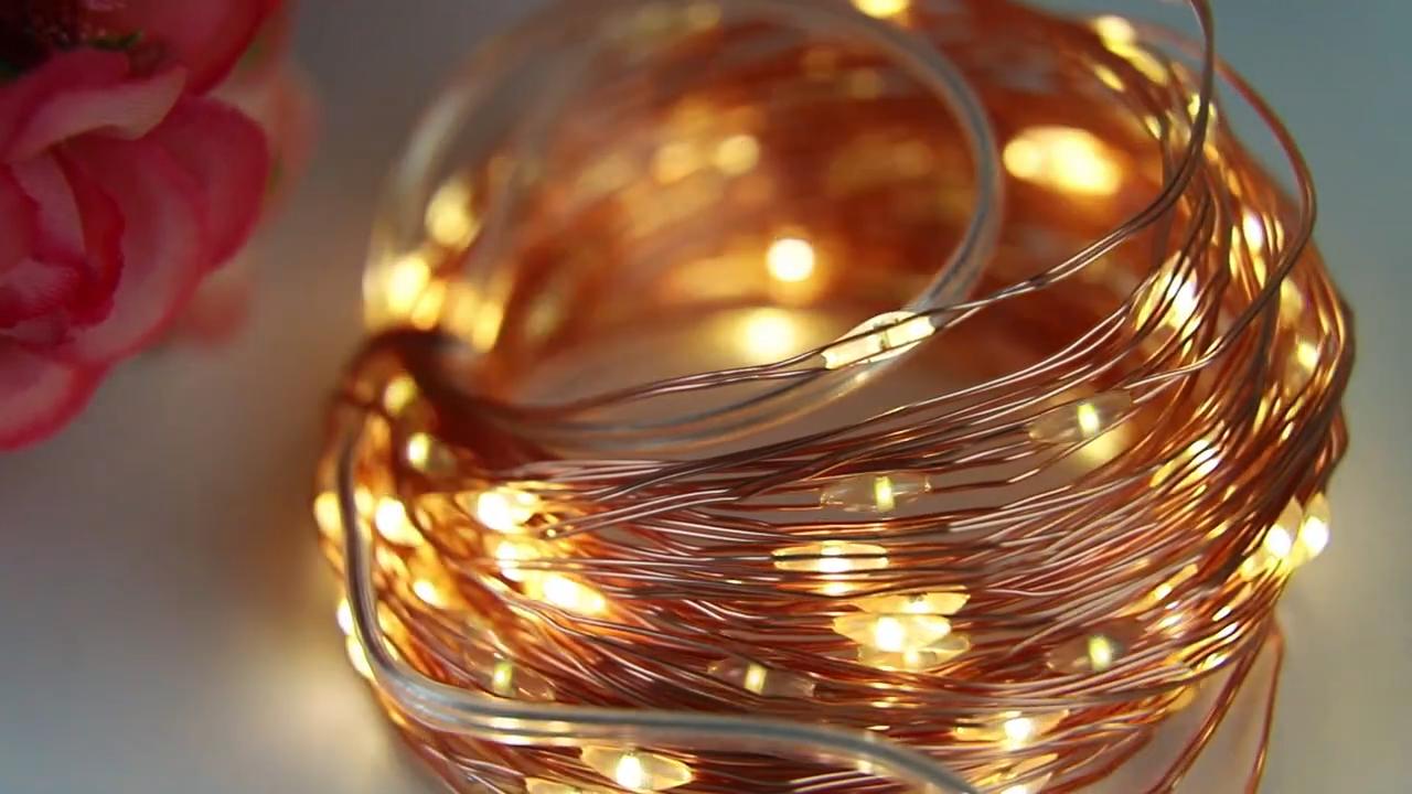 ไฟLedสายทองแดงสำหรับวันคริสต์มาส,ไฟLed 33ฟุตพร้อมไฟLed 100ดวงกันน้ำไฟแบบเทพนิยายแบตเตอรี่