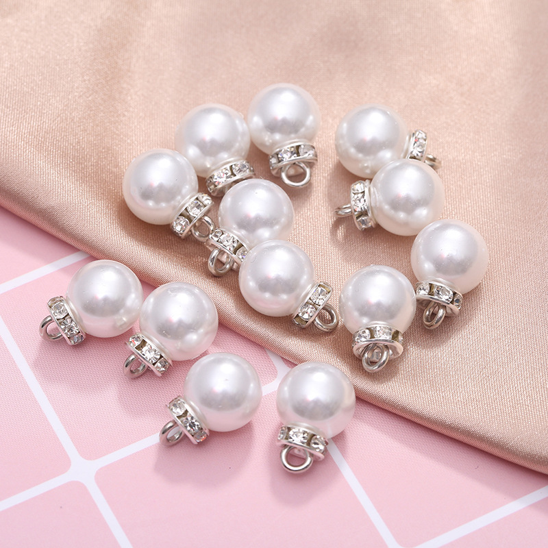 Spot wholesale ABS diamond ring circle bright pearl color scattered beads accessories