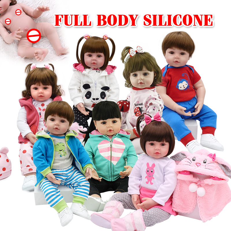 2020 NPK 18inch hot sell Silicone Handmade silicon material life-like cute silicone reborn baby <strong>doll</strong> for hot sale