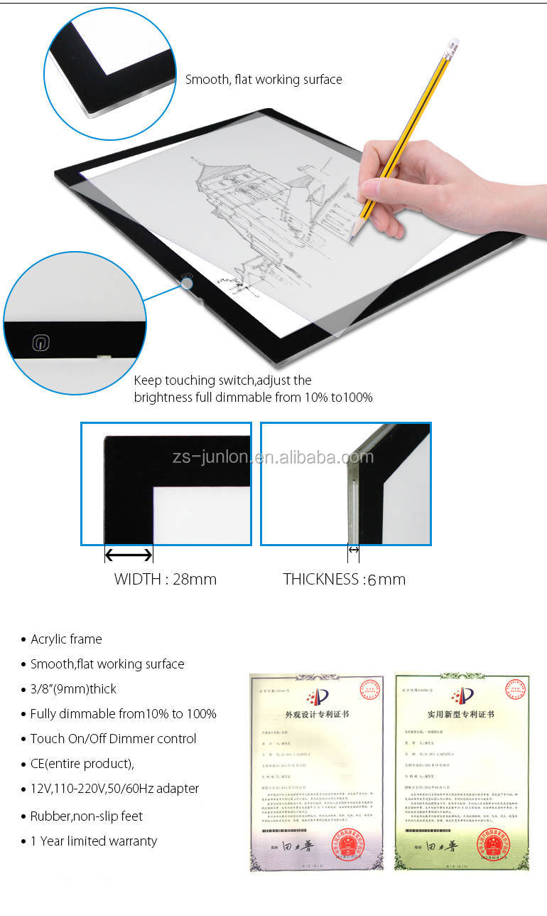animation tattoo drawing trace board a4 size JUNLON super slim animation acrylic frame led light box