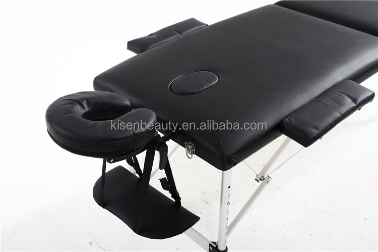 Hot sale 3 section portable aluminum folding massage bed beauty bed