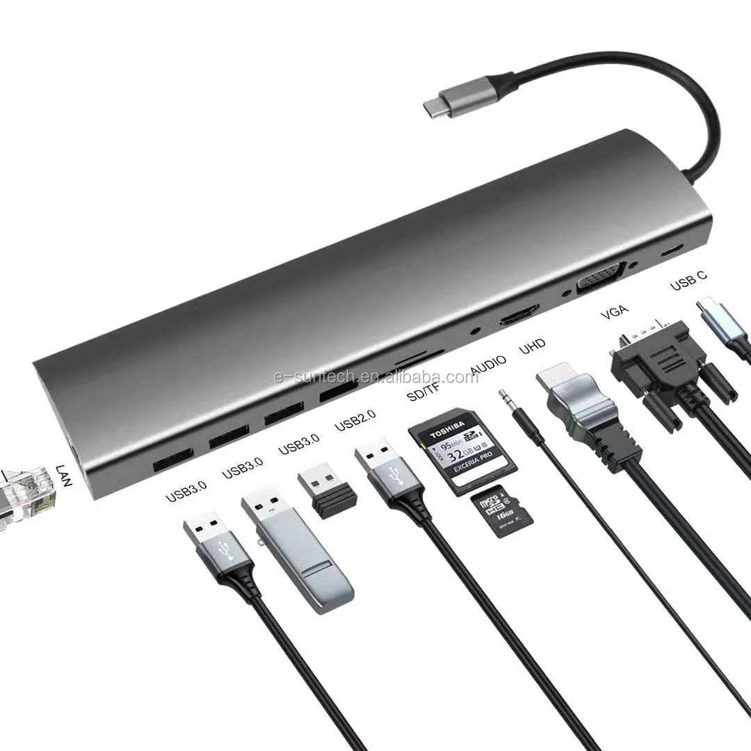 Aluminum Alloy USB Type C Hub 8 in 1 for Laptops