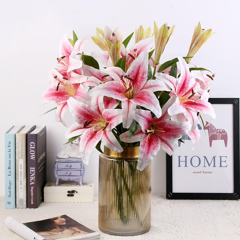 JMLL1002-95CM 3 หัว SINGLE Stem ราคาถูกจริง TOUCH 3D การพิมพ์สีชมพูสีขาว Lily ดอกไม้ปลอม