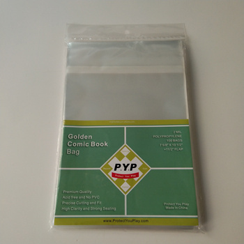 Crystal Clear 2mil Poly Golden Comic Book Bag 7 5/8 X 10 1/2 + 1 1/2