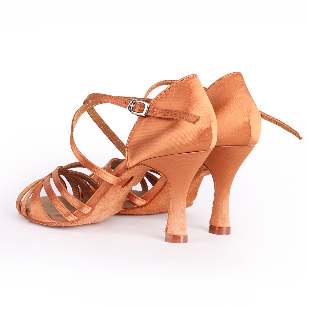 2020 Suphini ready to ship deep tan satin strap latin sandals professional latin dance shoes high heel competition dance shoes