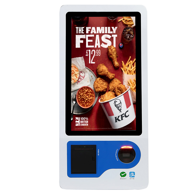 Fast Food Ordering Self Service <strong>Payment</strong> 23.8 Inch Touch Screen Kiosk Pos Terminal With Thermal Printer
