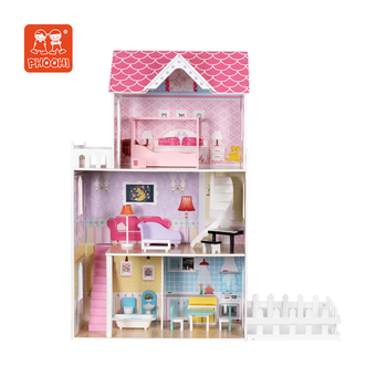 New Design Children Pretend Play Pink Furniture Toy Kids Wooden Large Doll House For Girls 3+