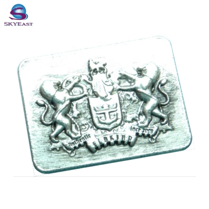 Hot Sell Antique Silver 3D Raised Embossed Logo Metal Badge Plate