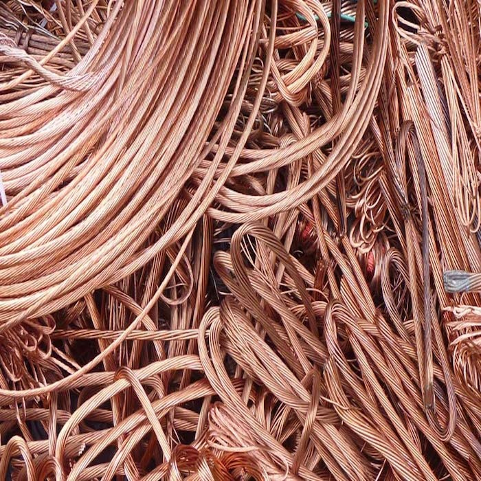 Stripping copper wire for scrap rubber backed bath and pedestal mats