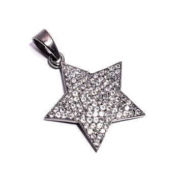 Hot Sale White Topaz Gemstone Designer Jewelry 925 Sterling Silver Customize Star Pendant