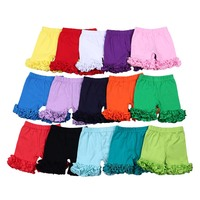 Summer girls shorts solid icing ruffle shorts casual cotton fabric fashion elastic design baby clothes shorts