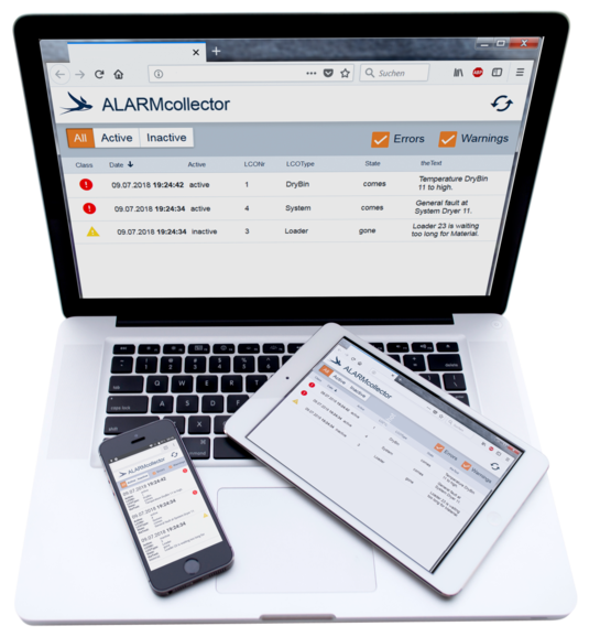 ALARMcollector - Alarm software for the digital & central monitoring of systems in the plastics industry