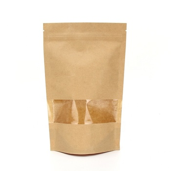 Factory Wholesale Food Packaging Doypack Stand Up Pouch Plain Brown Kraft Paper Bag With Clear Window And Zip Lock For Tea Snack
